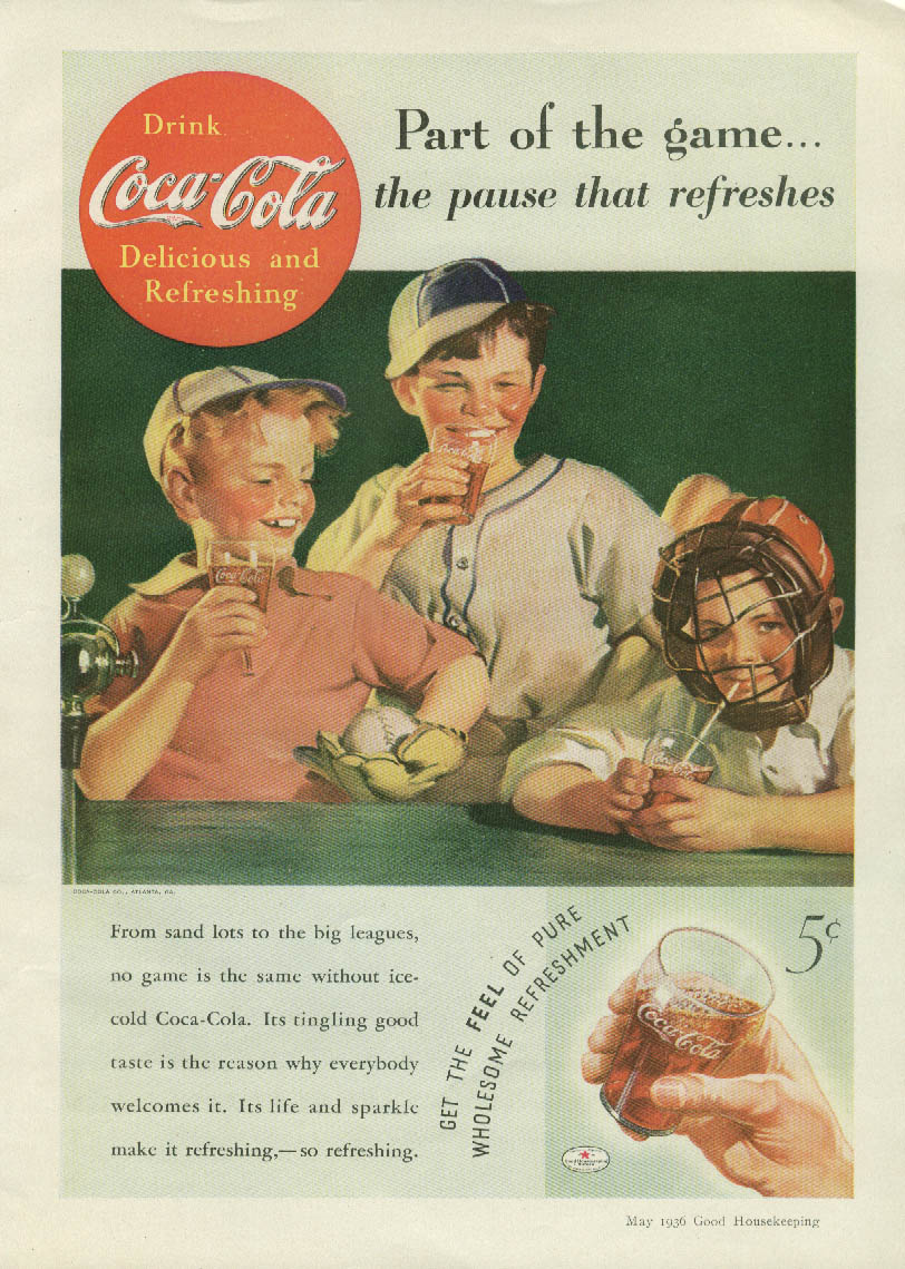 Part of the game - the pasue that refreshes Coca-Cola ad 1936 kids baseball GH
