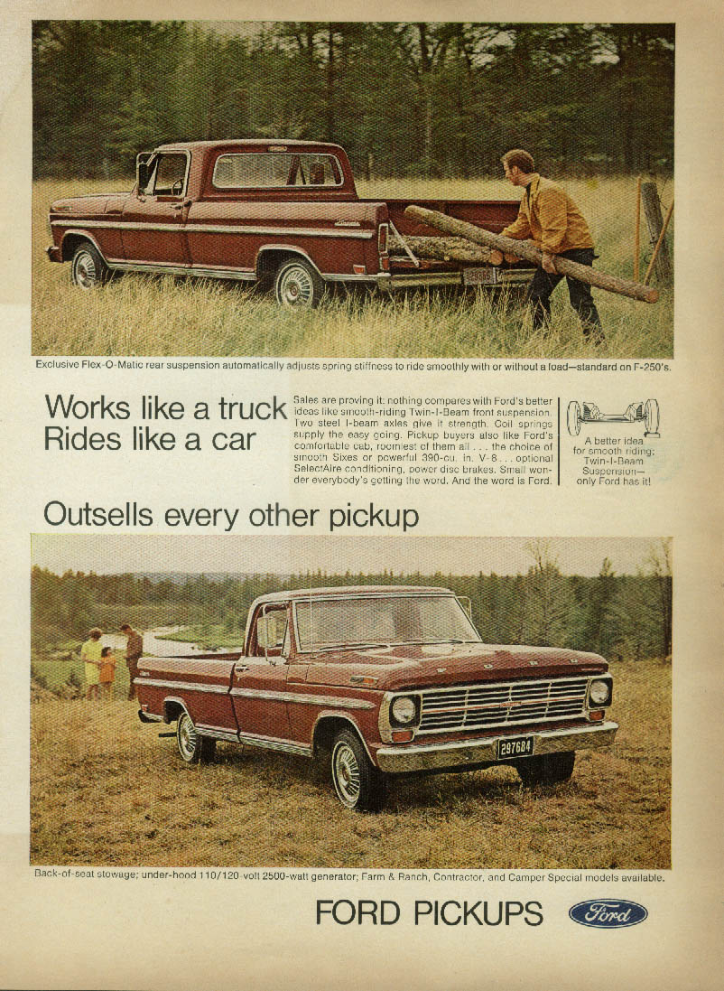 Works like a truck Rides like a car Ford Pickup ad 1969 FJ
