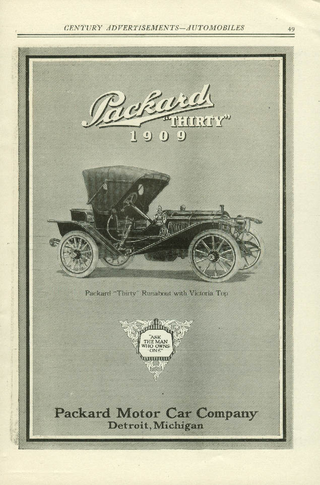 Packard Thirty Runabout with Victoria Top ad 1909
