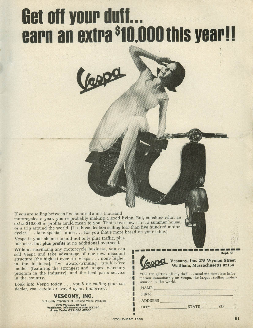 Get off your duff - earn an extra $10,000 this year Vespa Motor Scooters ad 1966