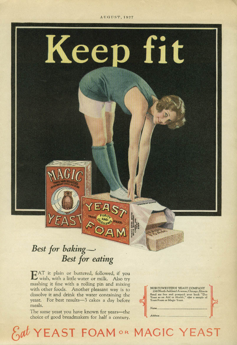 Keep fit Yeast Foam or Magic Yeast ad 1927 pretty girl touches toes