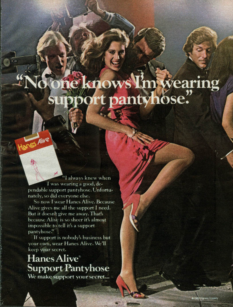 No one knows I'm wearing support pantyhose Hanes ad 1980 starlet paparazzi