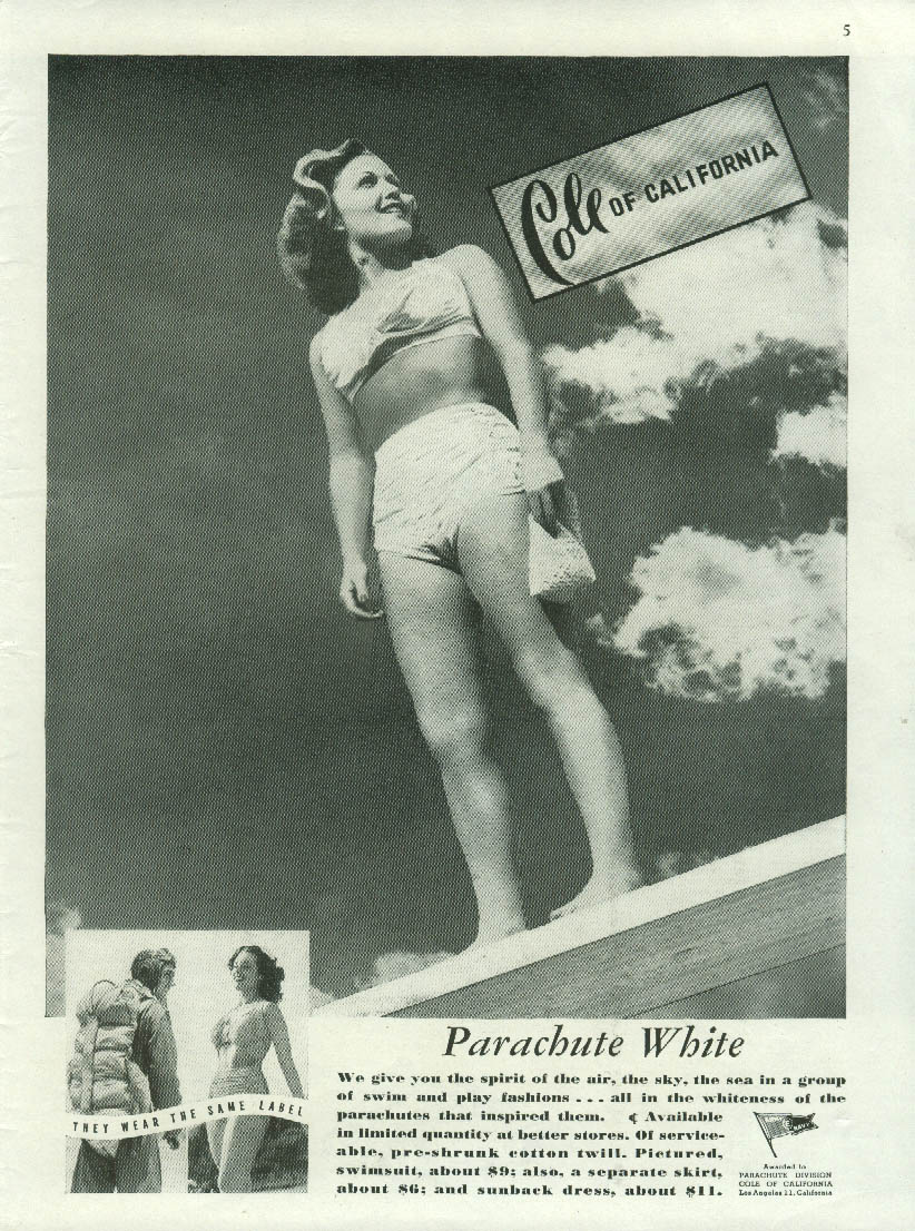 Parachute White Cole of California Swimsuit ad 1944 NY