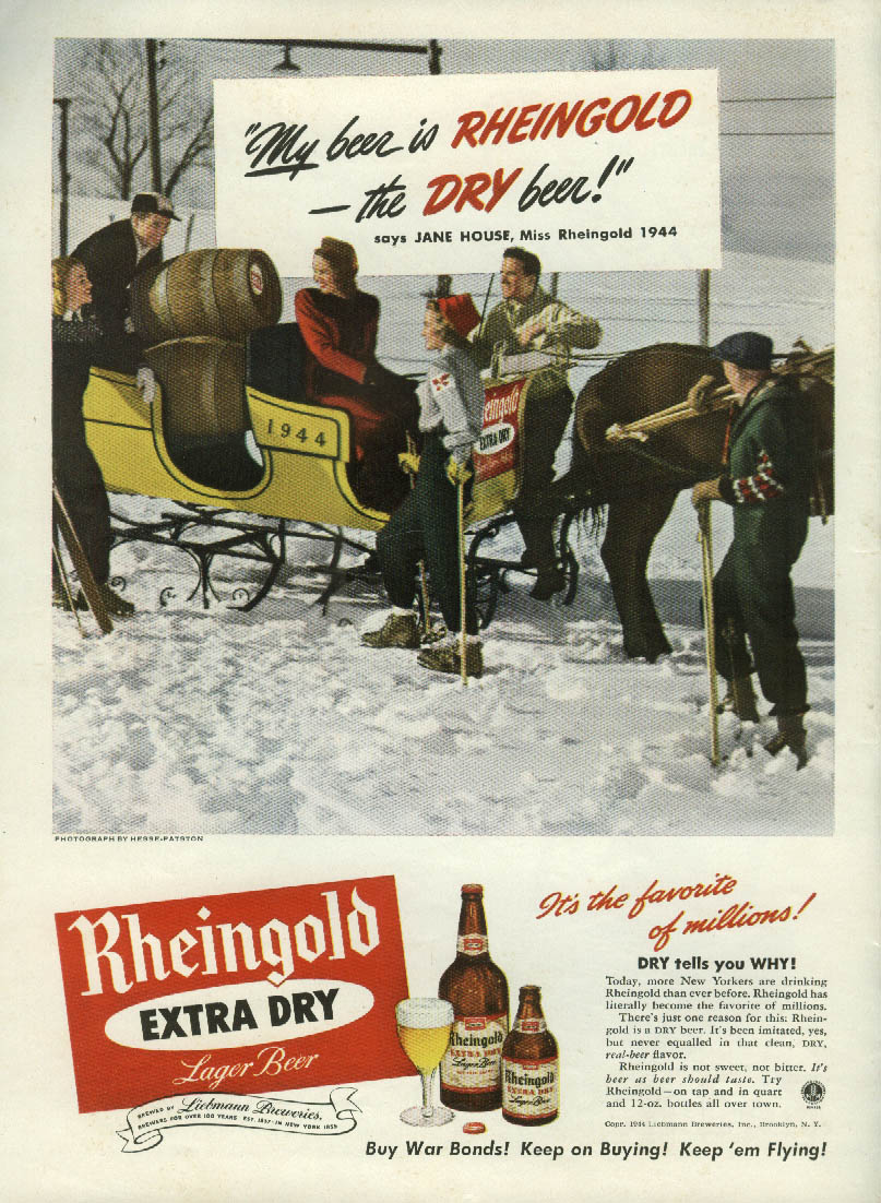 Miss Rheingold Beer Jane House ad 1944 keg-filled sleigh ride