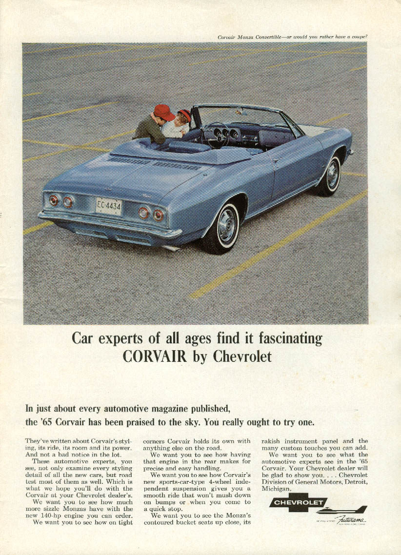 Car experts of all ages find it fascinating Corvair Monza Convertible ad 1965 NY
