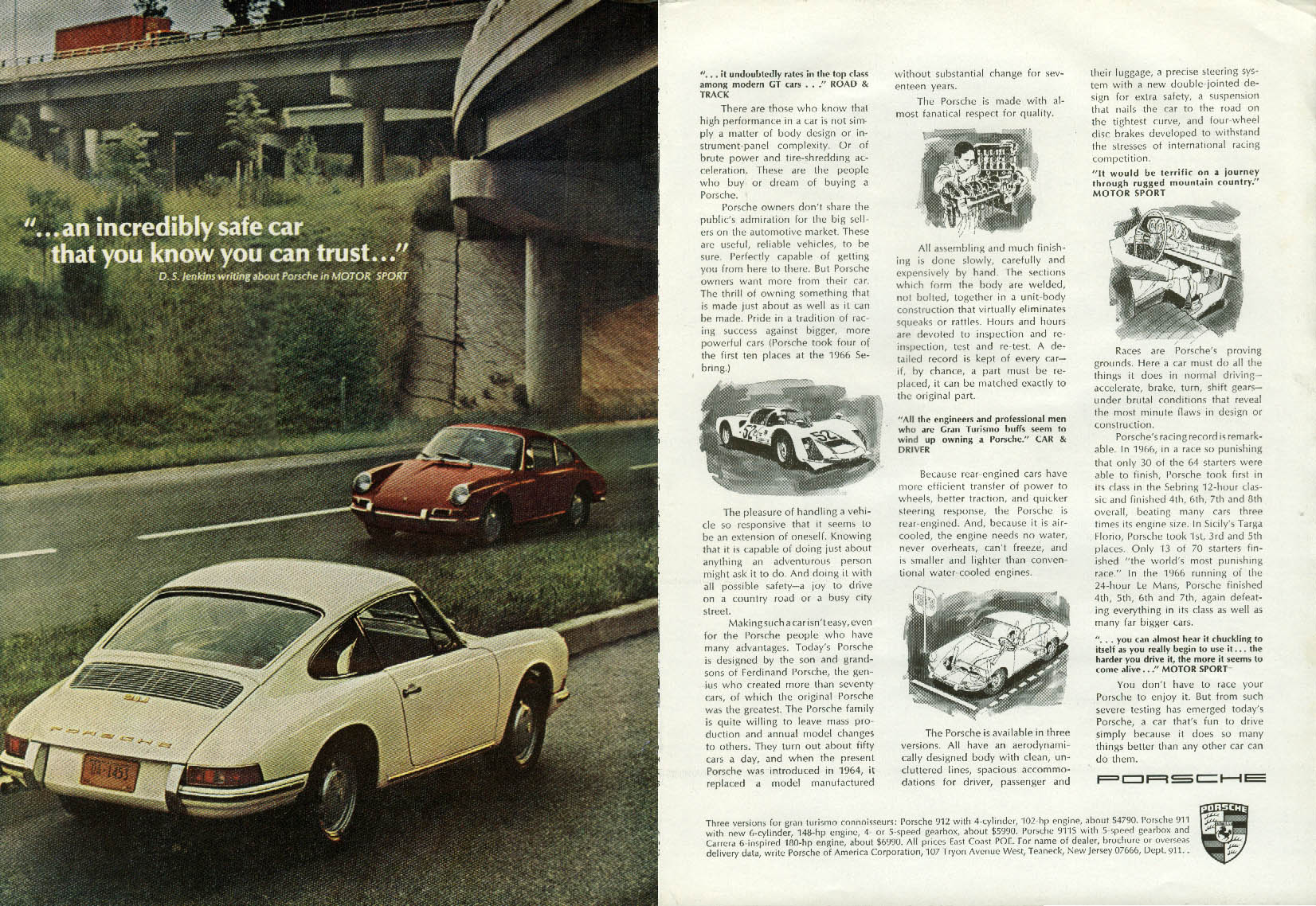 An incredibly safe car that you can trust Porsche 911 ad 1967 NY