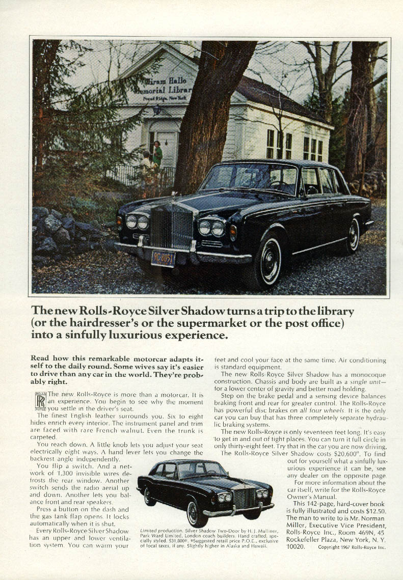 Trip to the library sinfully luxurious Rolls-Royce Silver Shadow ad 1967 NY