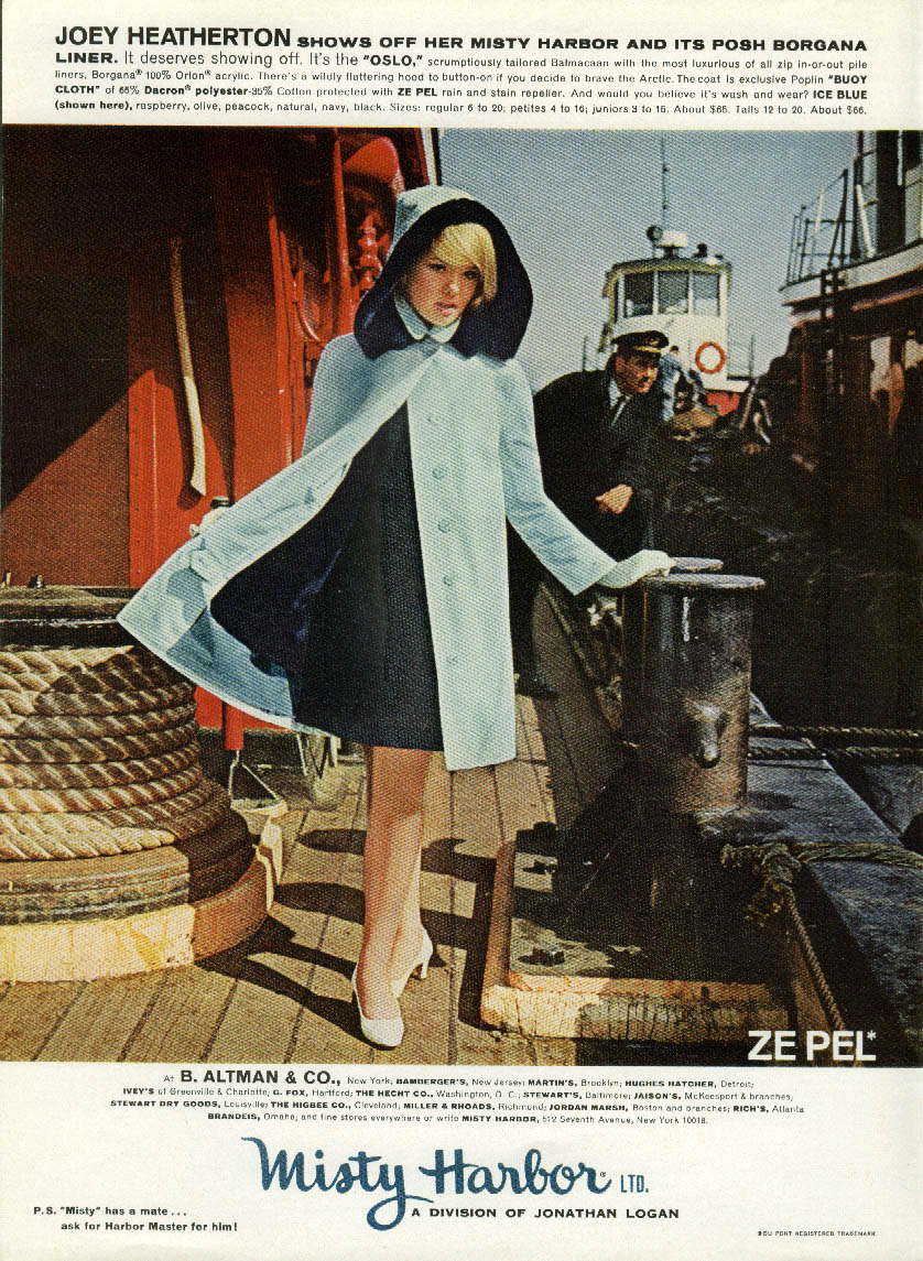 Joey Heatherton for Misty Harbor Oslo Coat ad 1967 NY