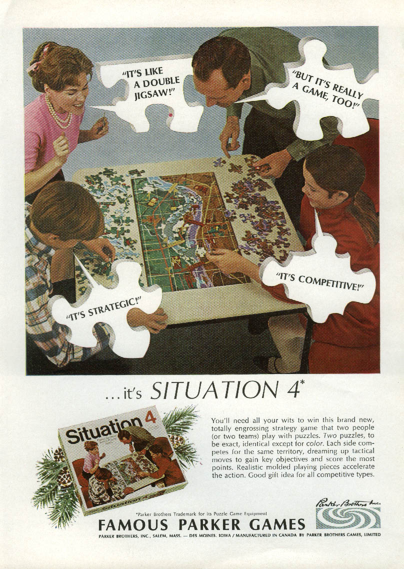A double jigsaw & a game Parker Brothers Situation 4 MAGAZINE ad 1968 NY