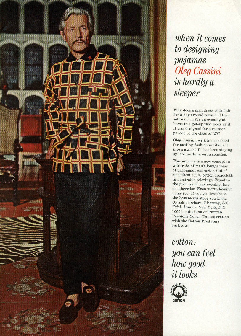 When it comes to designing pajamas Oleg Cassini is hardlt a sleeper ad 1968