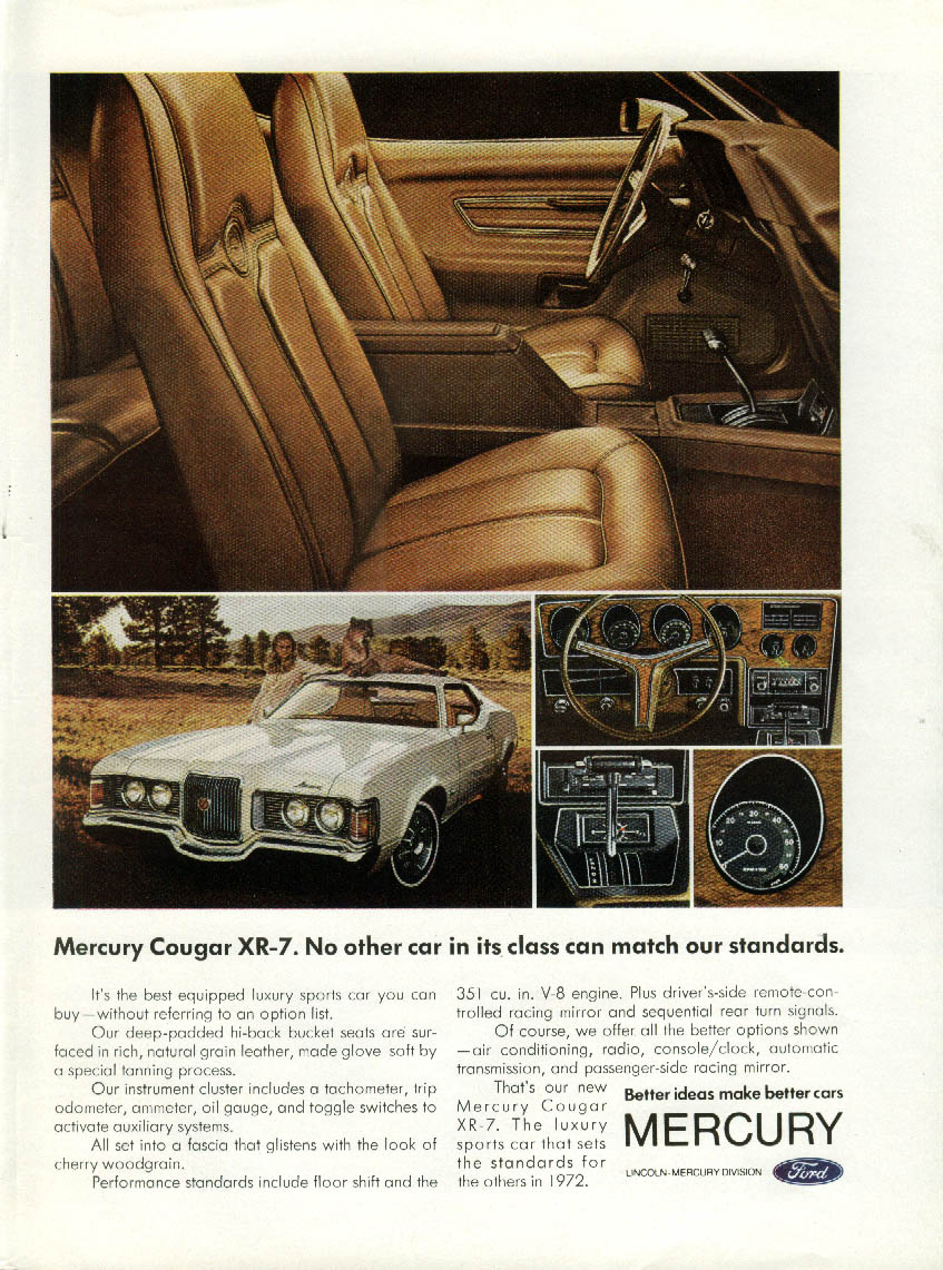 No other car in its class can match our standards Mercury Cougar XR-7 ad 1972 NY