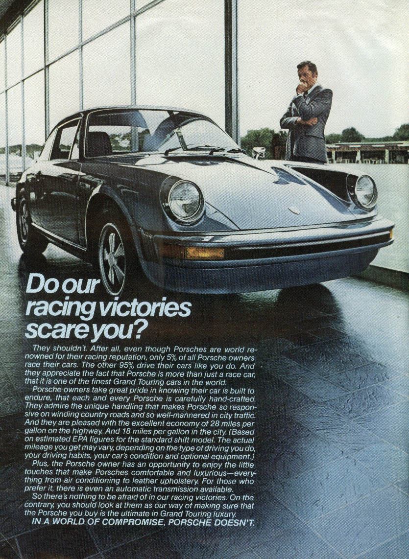 Do our racing victories scare you? Porsche 911 ad 1976 NY