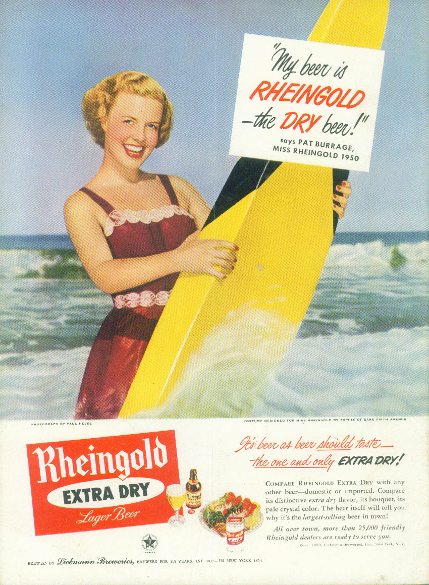 Miss Rheingold Beer Pat Burrage ad 1950 surfboard swimsuit