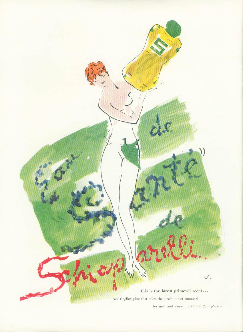 Eau de Sante de Schiaparelli Perfume ad 1950 Vertes nude with figleaf askew