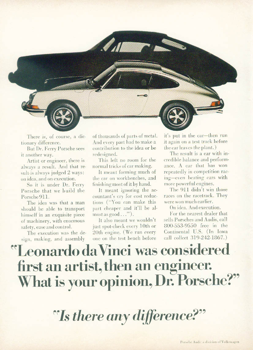 Leonardo da Vinci was 1st an artist then an engineer Porsche 911 ad1971