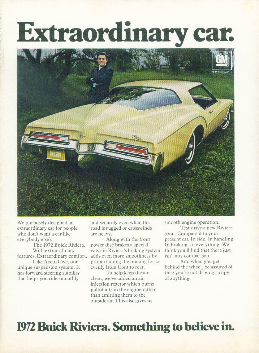Extraordinary car - Buick Riviera - Something to believe in ad 1972 NY