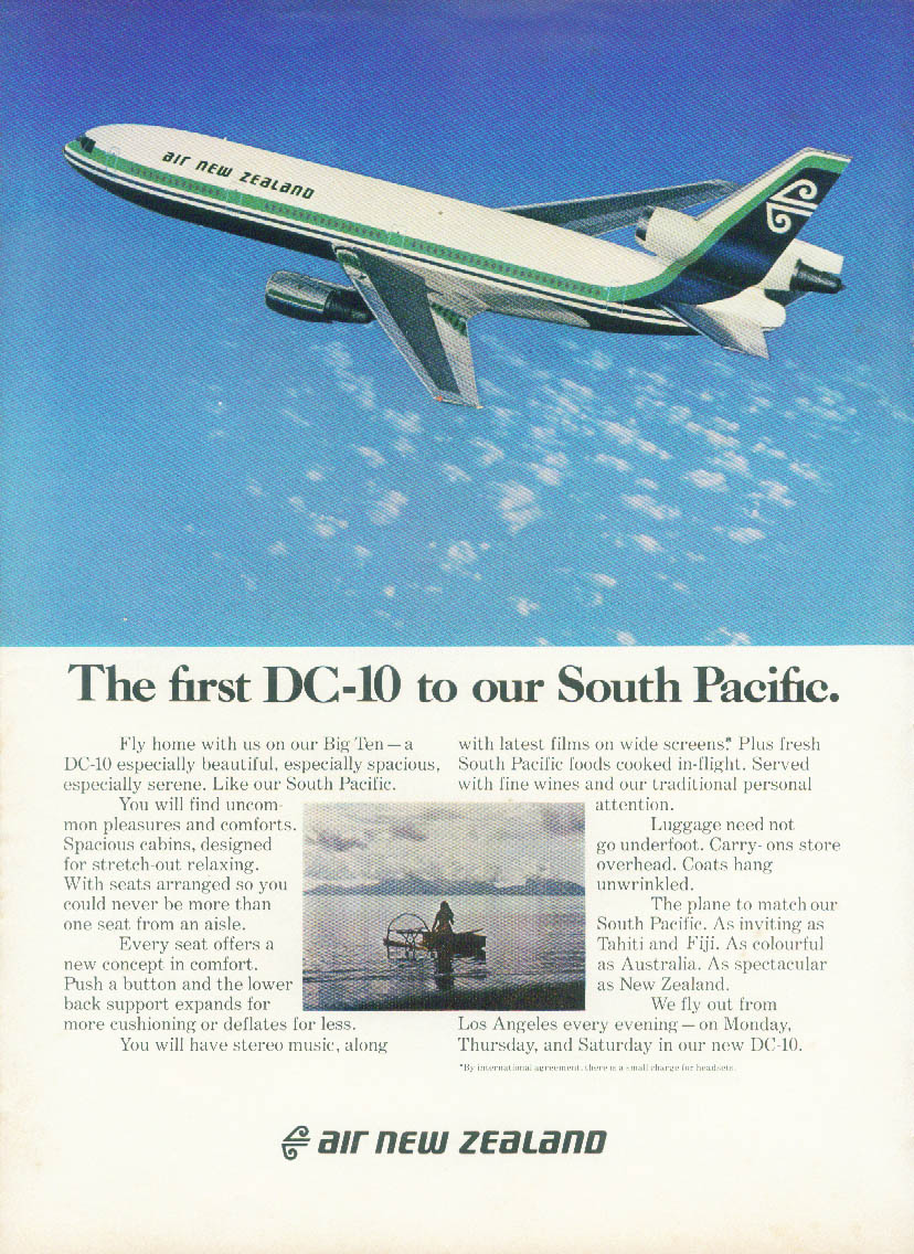 The first DC-10 to our South Pacific Air New Zealand ad 1973 NY