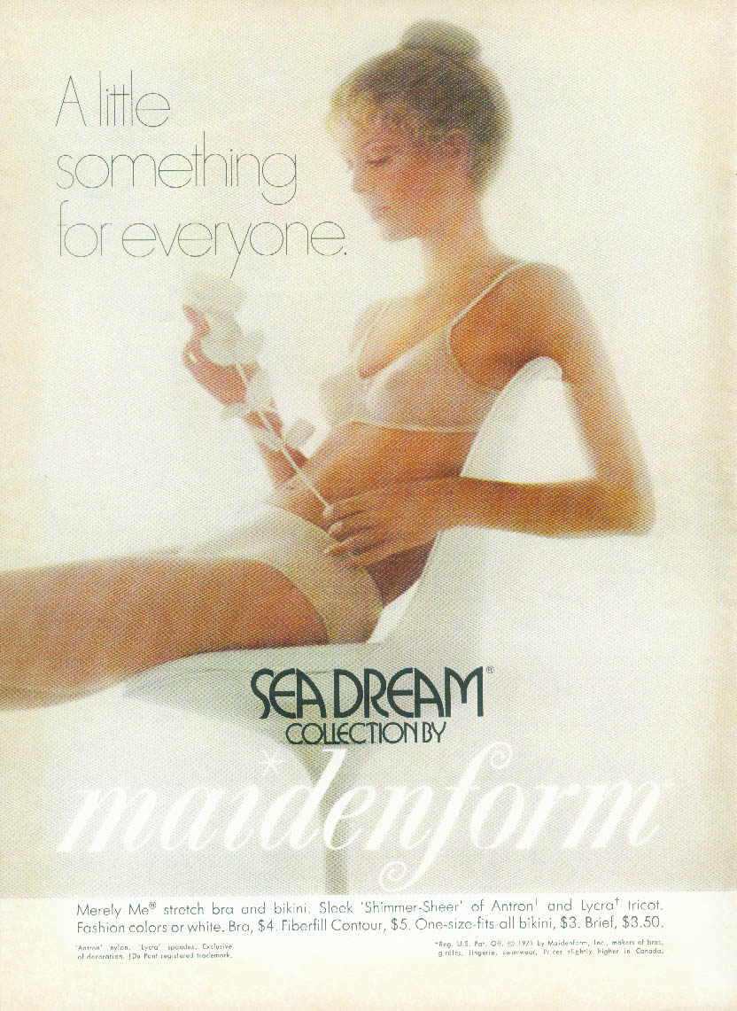 A little something for everyone - Maidenform Sea Dream Bra & Panties ad 1971 NY