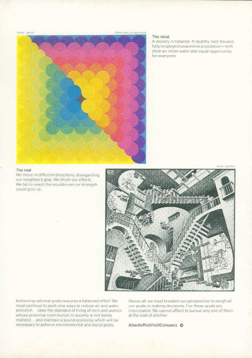 The ideal: Bayer / The real: Escher - Atlantic Richfield ad 1974 NY