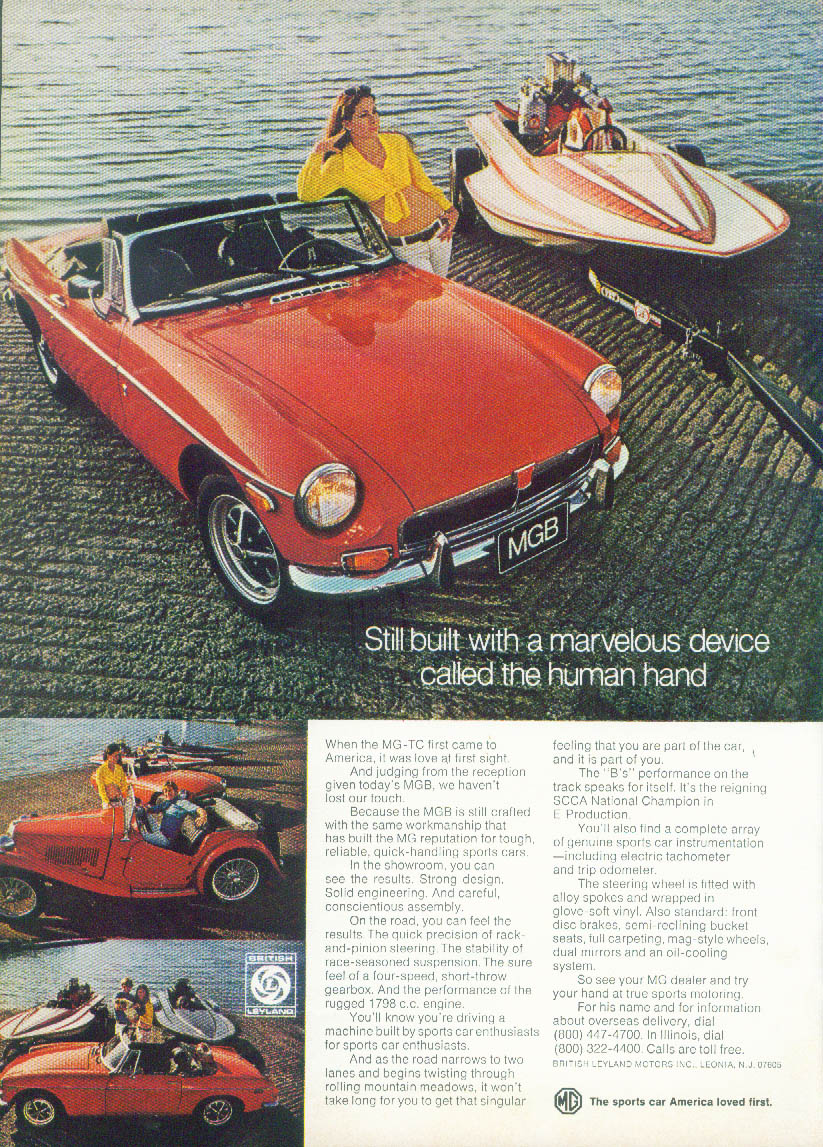 Still built with a marvelous device - the human hand MGB Roadster ad 1973 NY