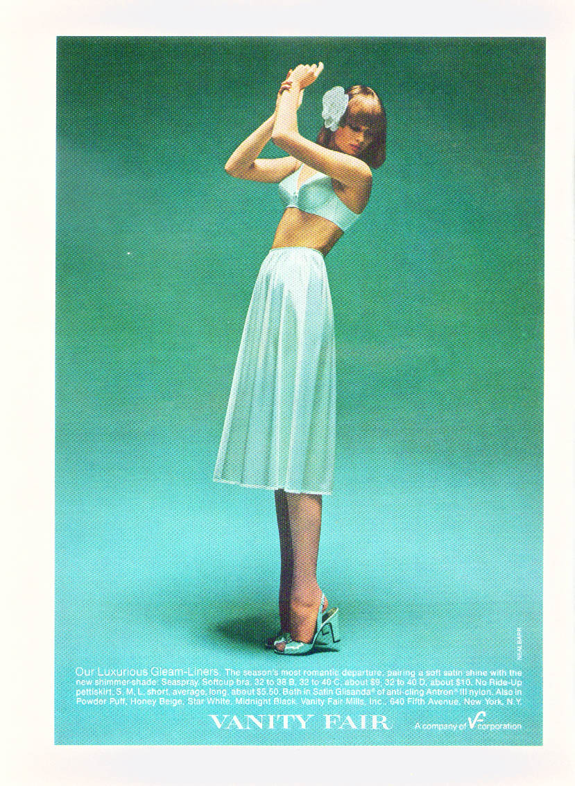 Our Luxurious Gleam-Liners Vanity Fair Bra & Pettiskirt ad 1977 NY