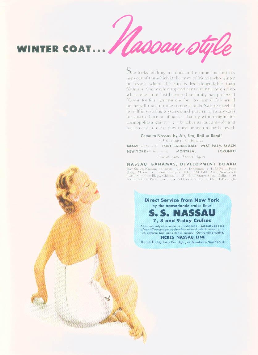 Winter Coat Nassau Style Incres Nassau Line S S Nassau ad 1953 swimsuit