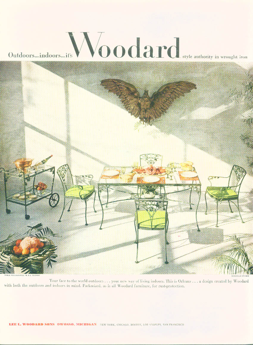 Outdoors - indoors it's Woodard Orleans Wrought Iron Furniture ad 1953 NY