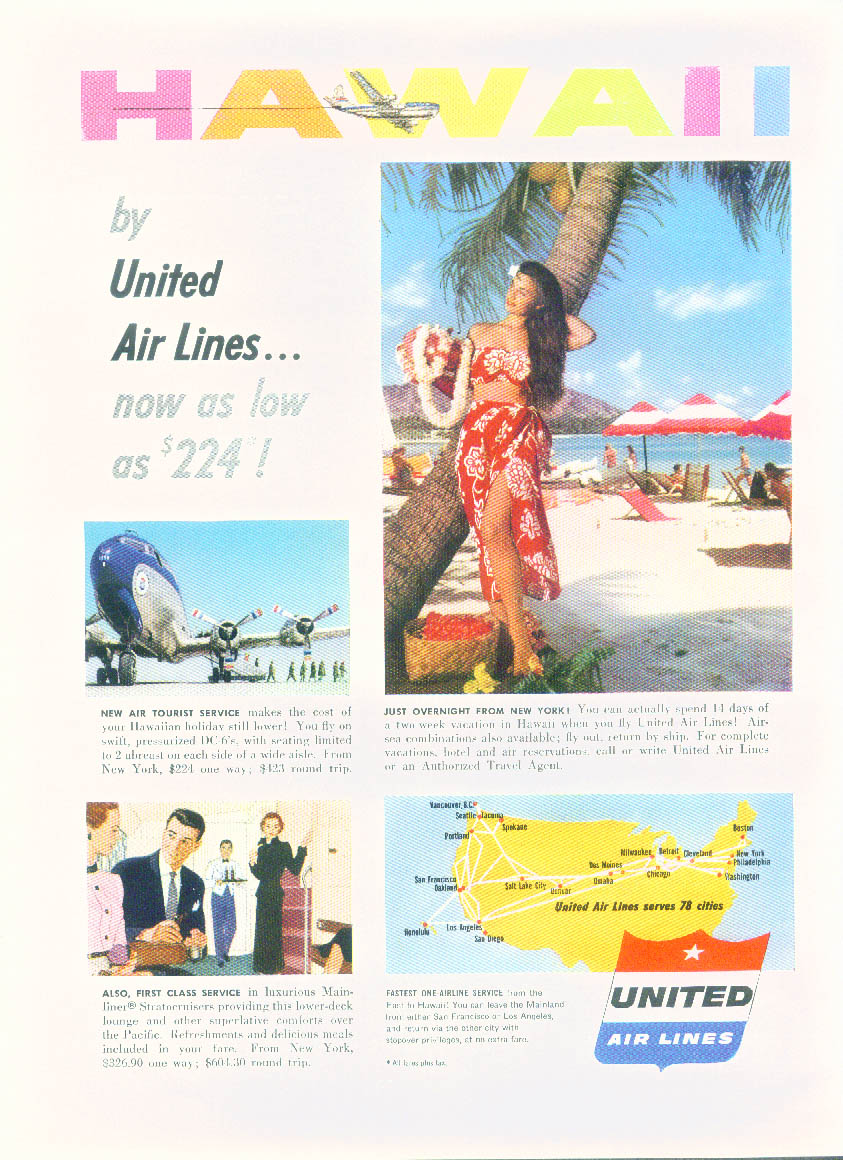 Hawaii now as low as $224 by United Air Lines ad 1953 NY