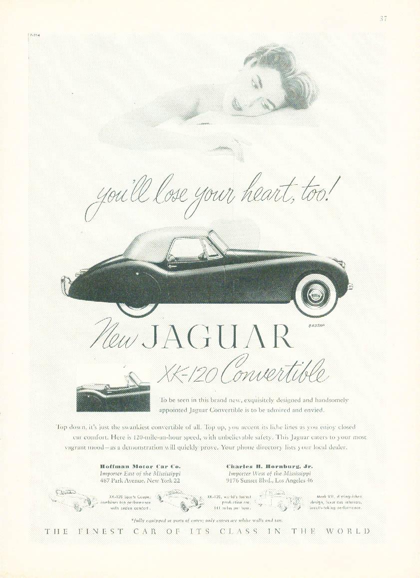 You'll lose your heart, too! Jaguar XK-120 Convertible ad 1953 NY