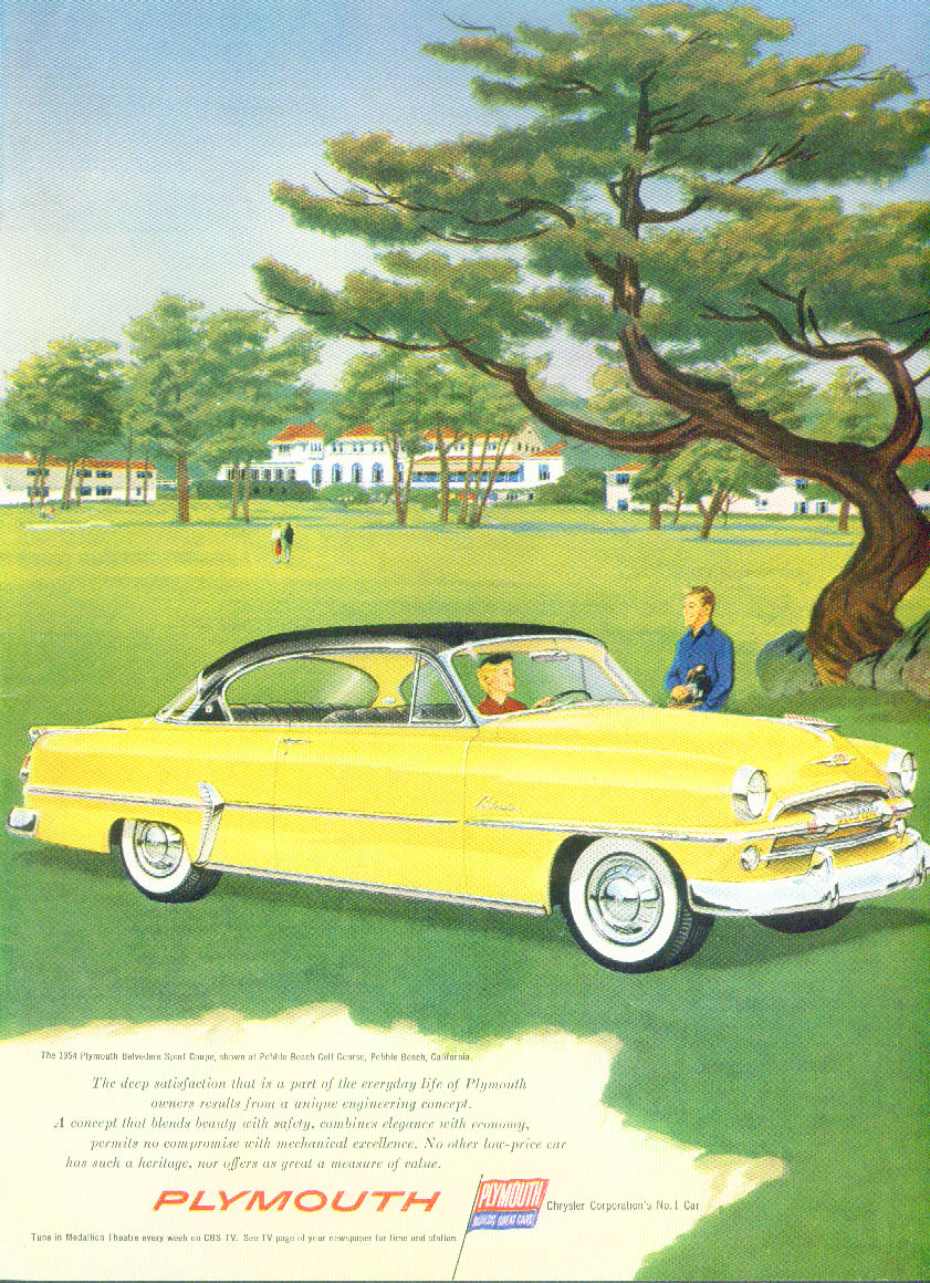Plymouth Belvedere Sport Coupe at Pebble Beach Golf Club CA ad 1954 NY