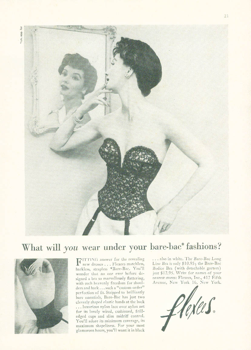 What will you wear under your fashions? Flexees Bare-Bac Bra ad 1953 NY