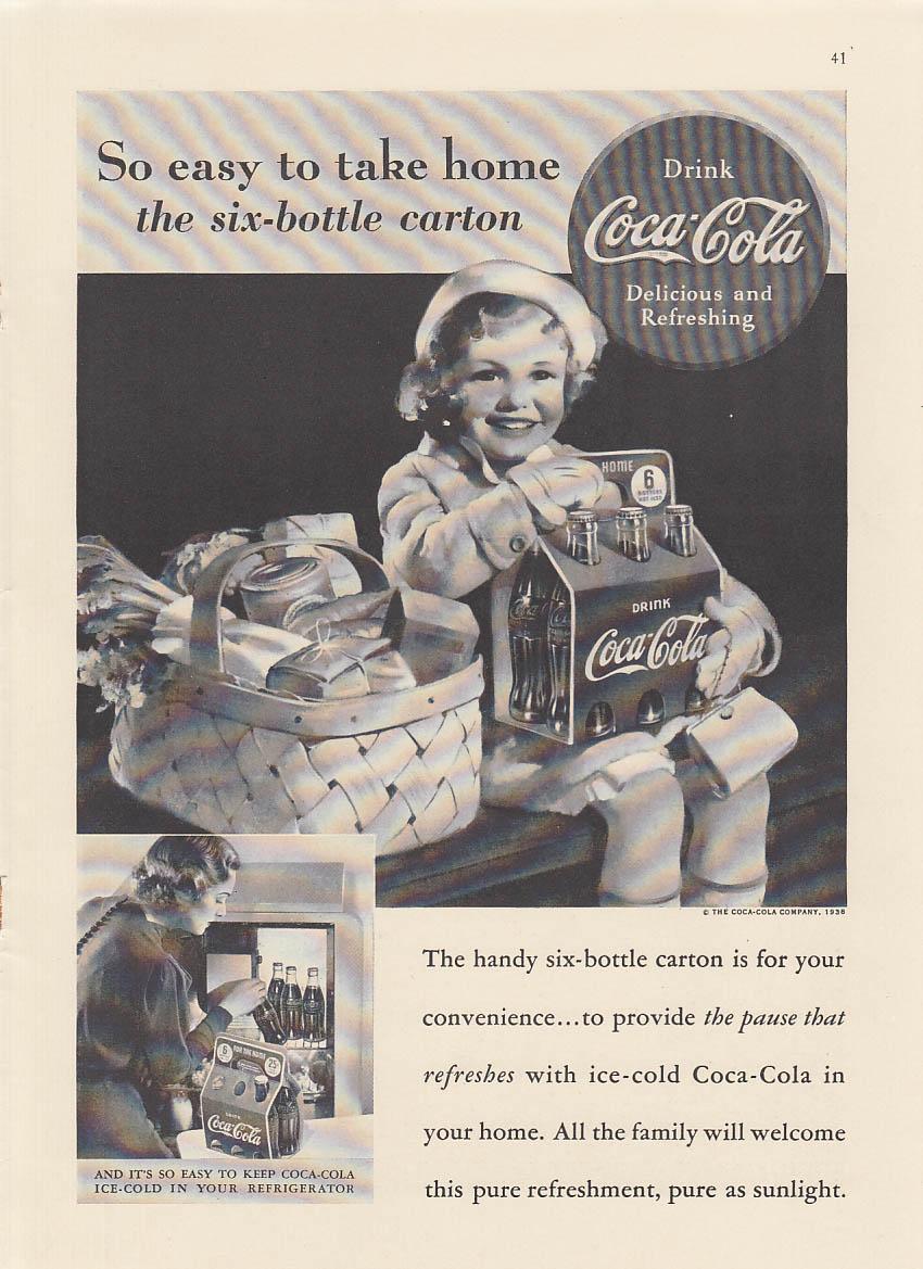 Easy to take home six-bottle carton Coca-Cola ad 1938 NY Sundblom
