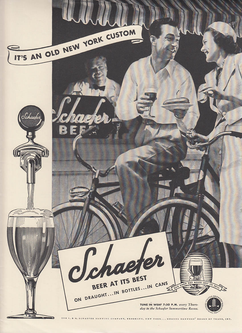 An old New York custom Schaefer Beer ad 1938 bicyclists stop for hot dogs & beer