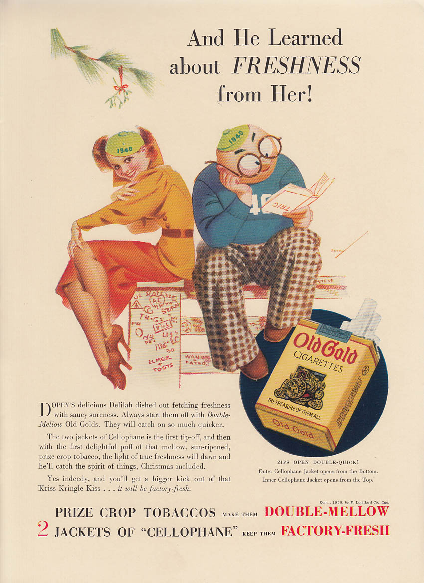 And He Learned about Freshness from Her Old Gold Cigarettes ad 1936 Petty NY