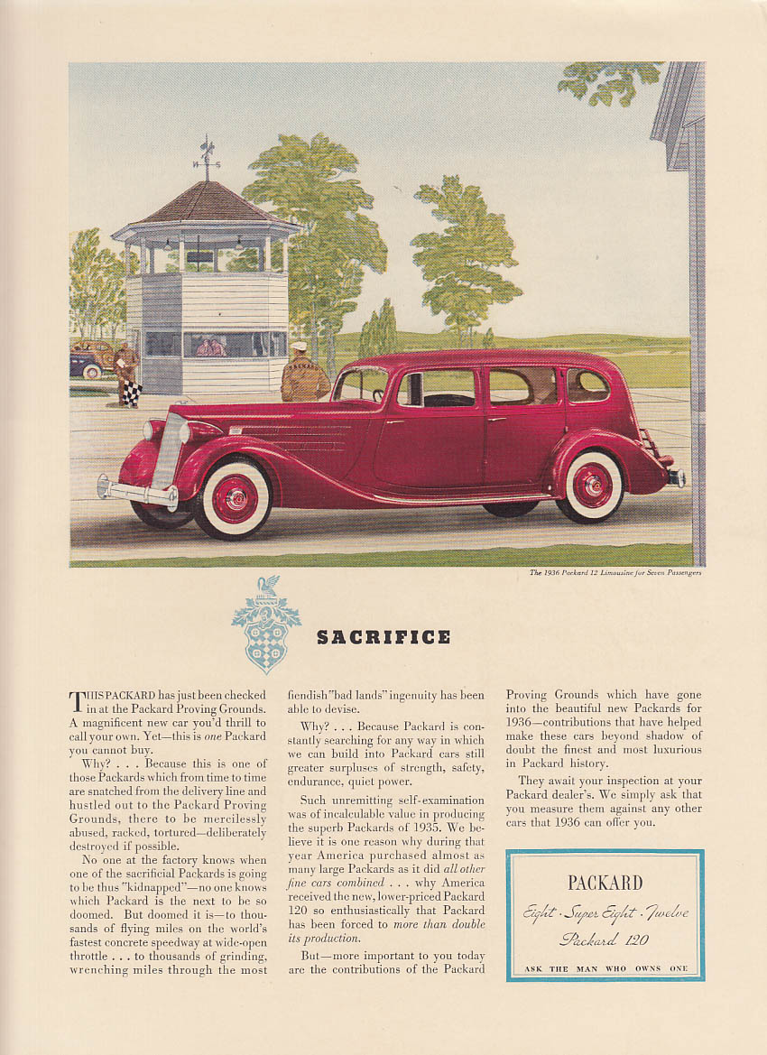 Sacrifice - Proving Grounds proven Packard 12 Limousine ad 1936 NY