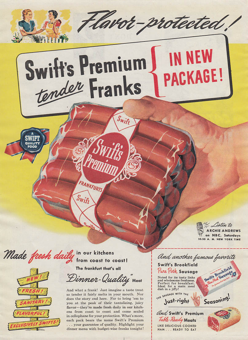 Image for Flavor-protected! Swift's Premium Franks in New Package! Ad 1947
