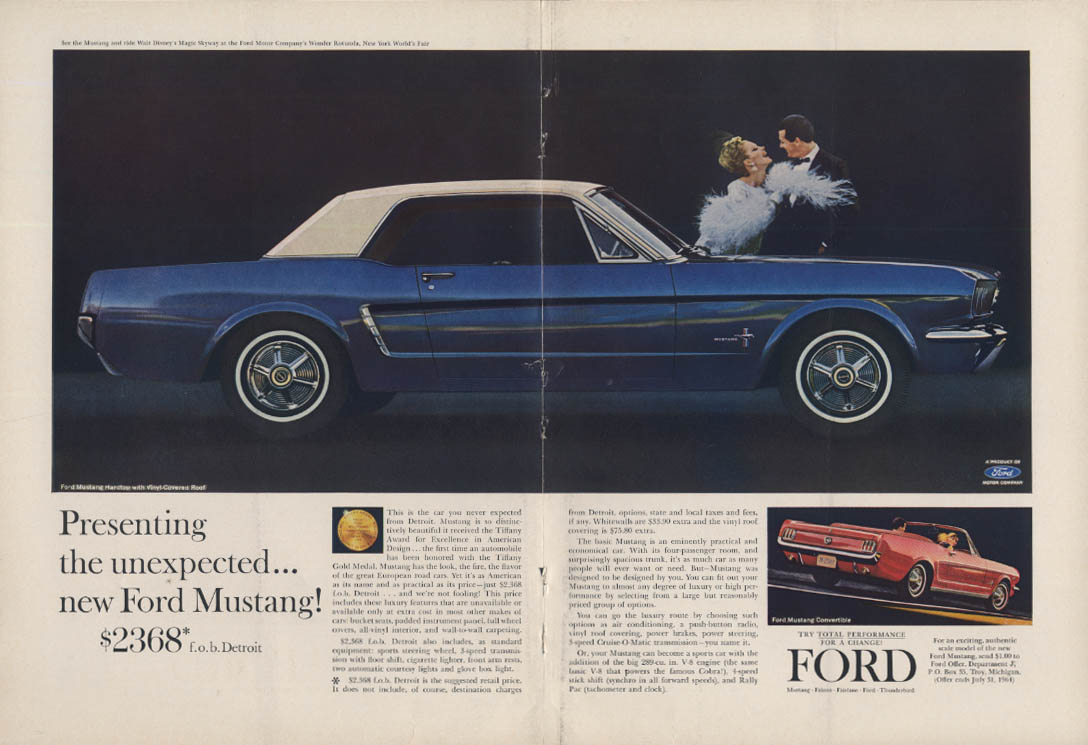 Presenting the unexpected Ford Mustang Hardtop ad 1964 NY