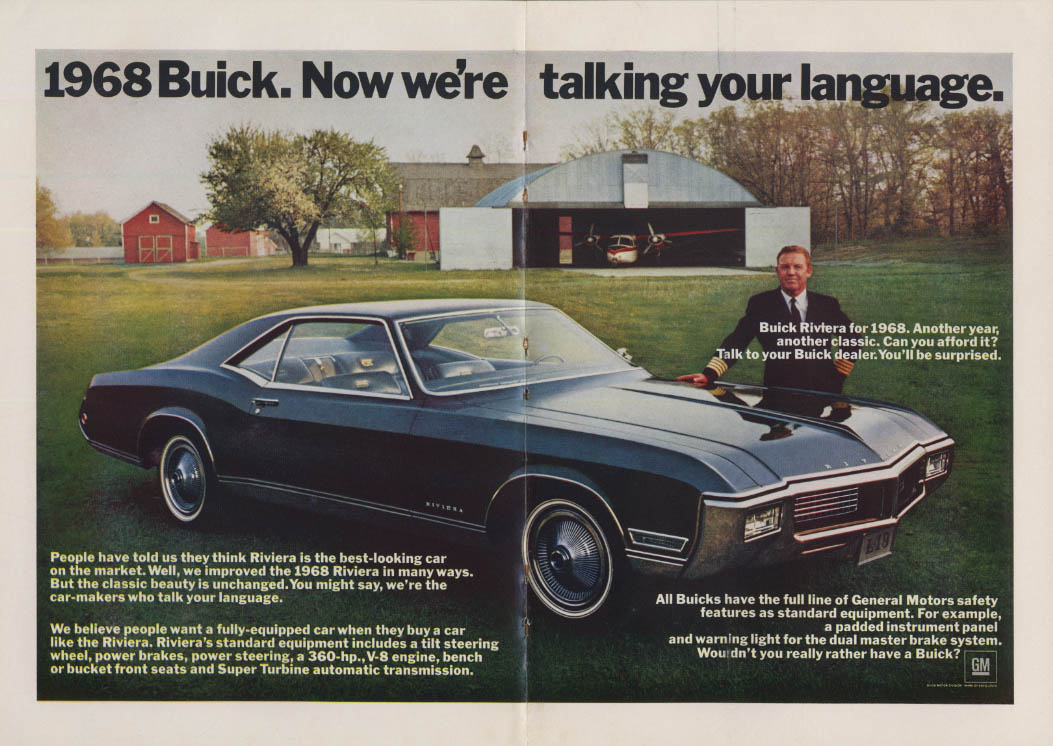 Another year, another classic Buick Riviera ad 1968 NY