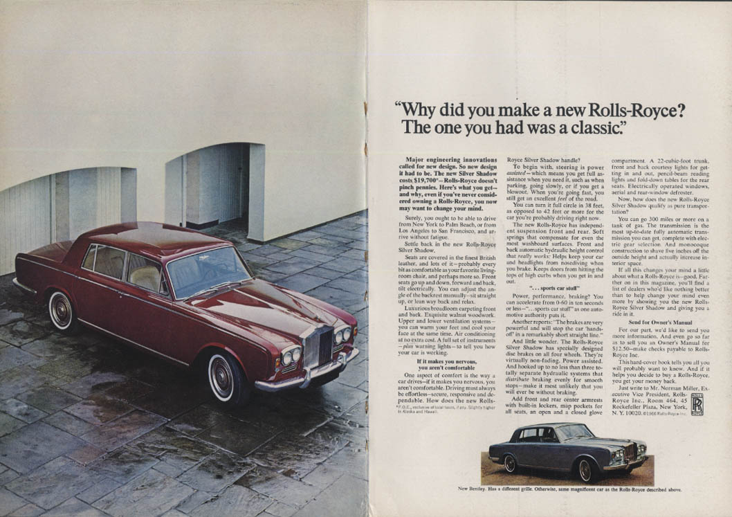 Why did you make a new Rolls-Royce Silver Shadow? Ad 1966 NY
