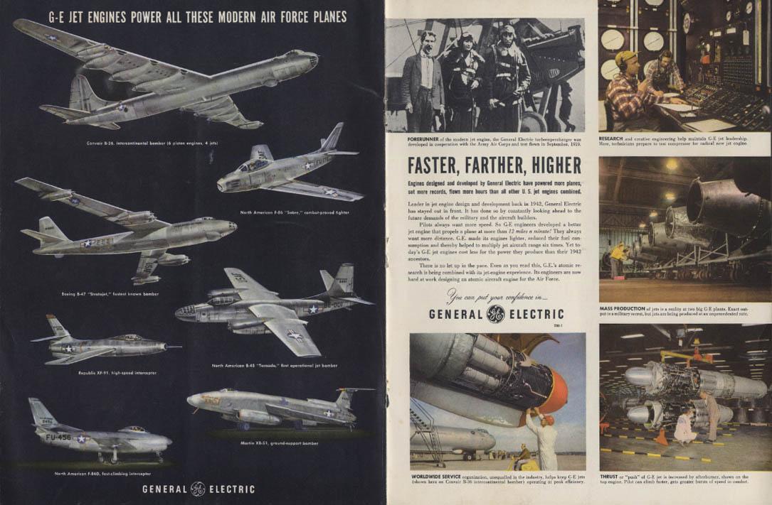 Faster Farther Higher General Electric ad 1952 B-36 F-86 B-47 B-45 XF-91 F-86D +