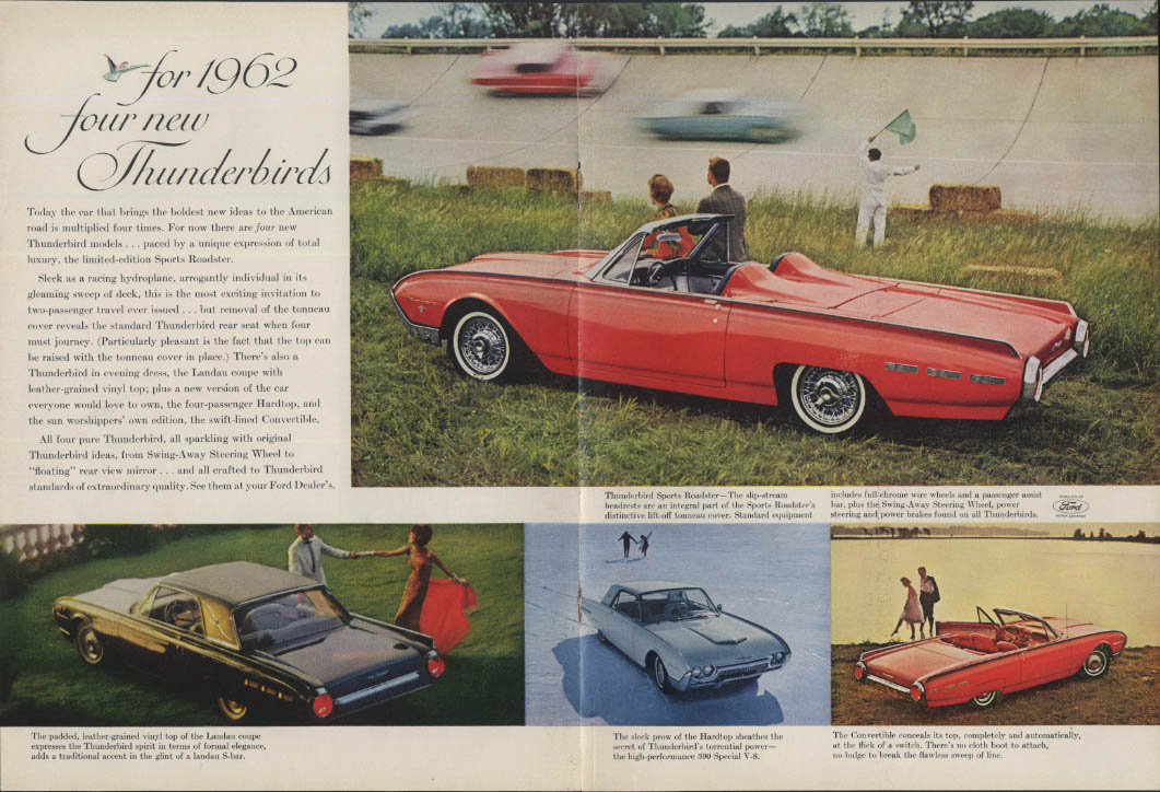 Image for Four new Thunderbirds from Ford ad 1962 Sports Roadster Landau Convertible SI