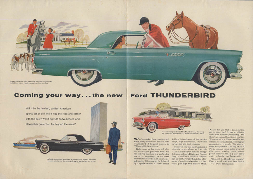 Coming your way - the new Ford Thunderbird ad 1955 SI