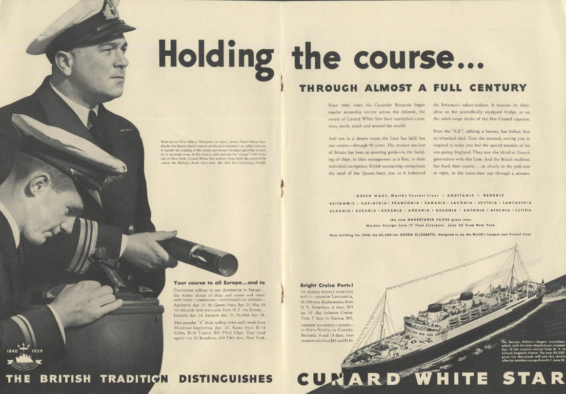 Holding the course Cunard White Star R M S Georgic ad 1939 NY