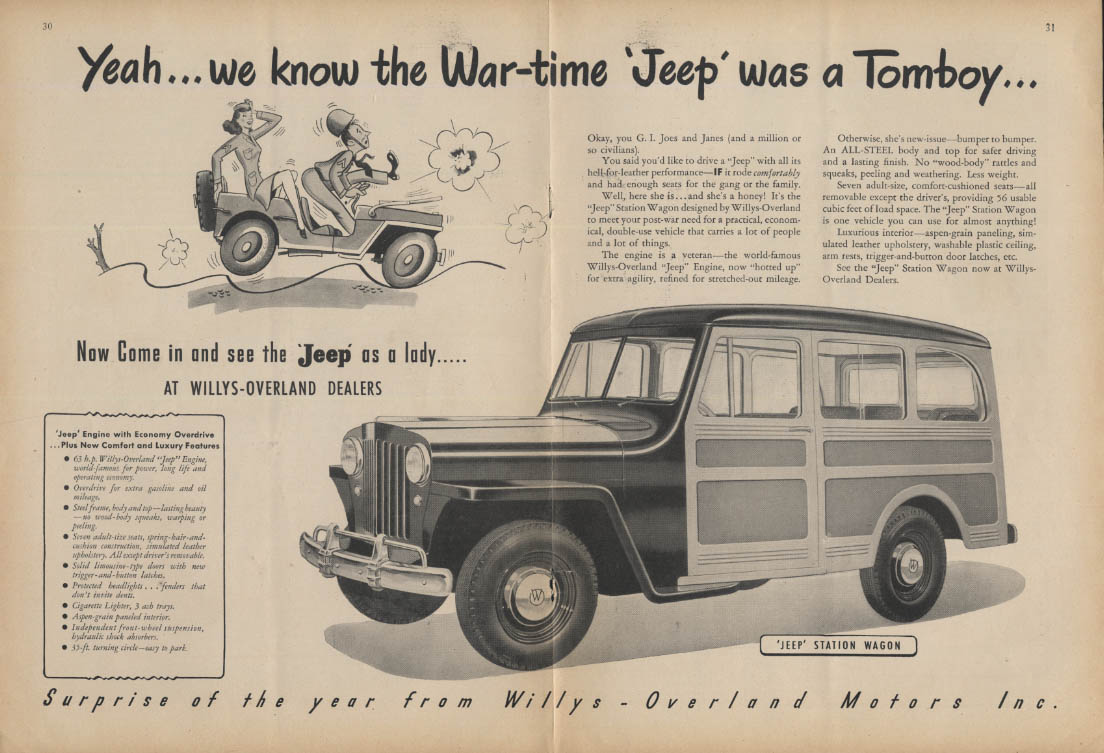 Yeah we know the wartime Jeep was a tomboy Jeep Station Wagon ad 1946 NY