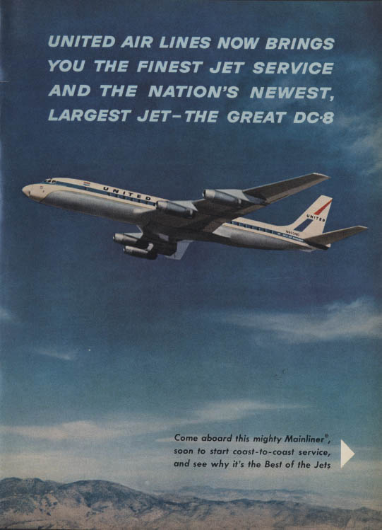 Finest Jet Service the Great Douglas DC-8 United Air Lines ad 1959 NY