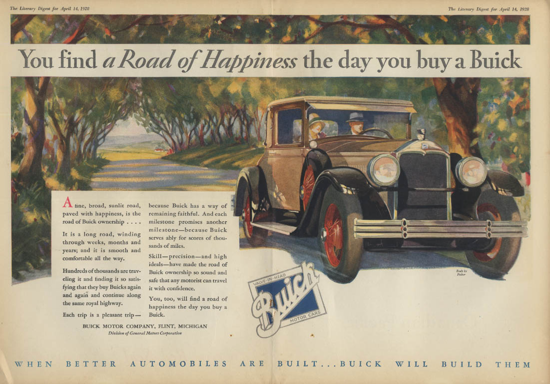 Find a Road of Happiness the day you buy a Buick ad 1928 LD