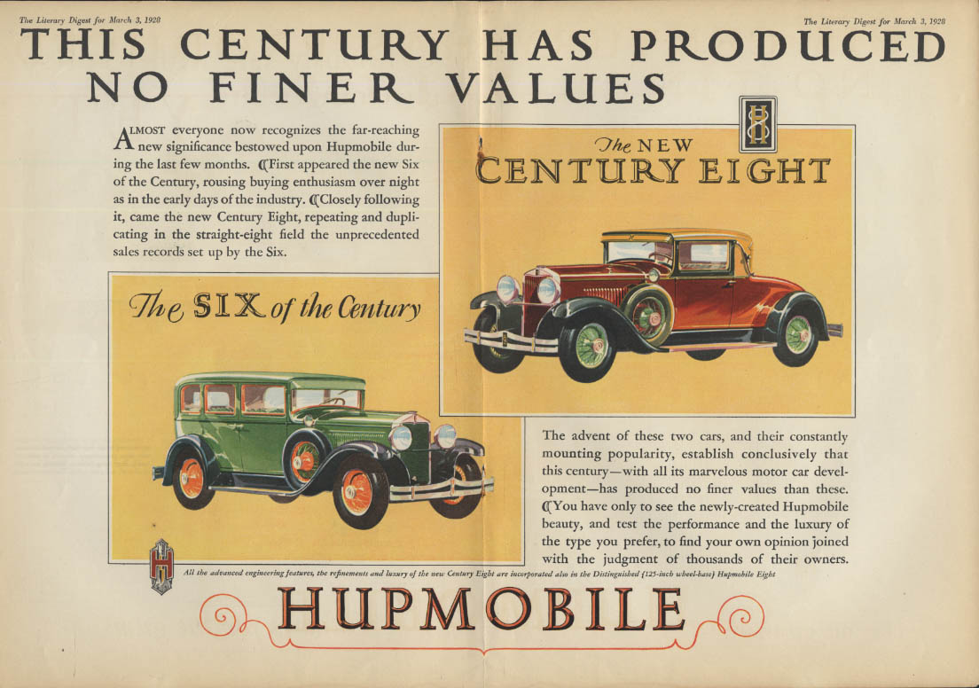 This Century Has Produced No Finer Values Hupmobile 6 & 8 ad 1928 LD