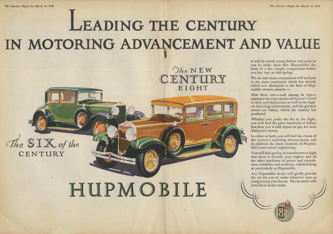 Leading the Century in Motoring Advancement Hupmobile 6 & 8 ad 1928 LD