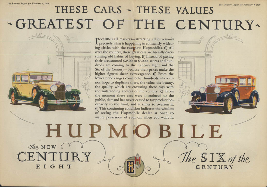 These Cars These Values Greatest of the Century Hupmobile 6 & 8 ad 1928 LD