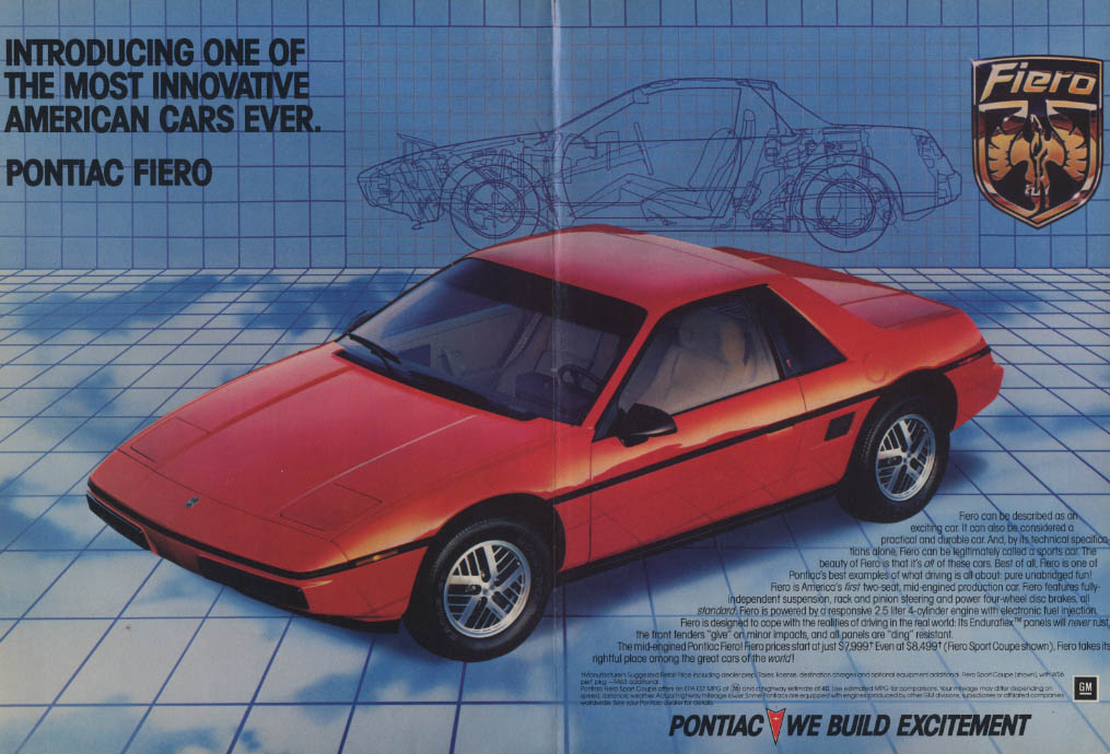 Introducing one of the most innovative American Cars ever Pontiac Fiero ad 1983